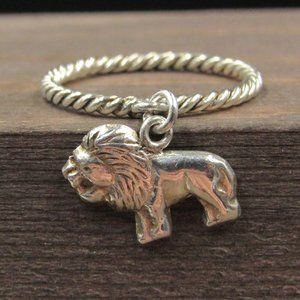Size 4.5 Sterling Silver Braided Lion Charm Band